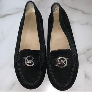 Michael Kors Black Suede Flats with Silver Accent